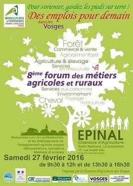 8ème forum des métiers agricoles et ruraux à EPINAL le Samedi 27 février 2016
