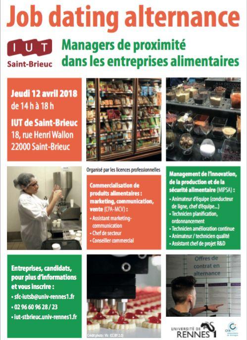 JOB DATING ALTERNANCE LE 12 AVRIL 2018 À L'IUT DE SAINT-BRIEUC